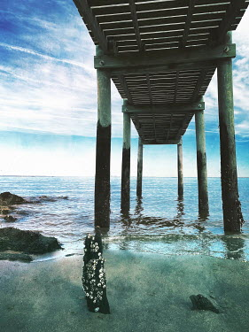 Lisa Bonowicz JETTY ON STILTS WITH SEA AND BLUE SKY