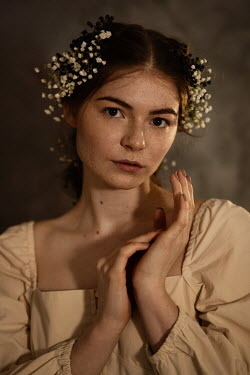 Elena Alferova WOMAN WITH FRECKLES AND FLOWERS IN HAIR