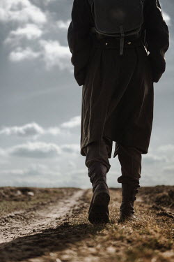 Magdalena Russocka close up of wartime soldier walking on country road