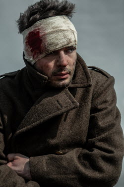 Magdalena Russocka close up of wounded wartime soldier outside