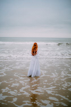 Rebecca Stice WOMAN WITH RED HAIR AND WHITE DRESS IN SEA