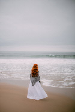 Rebecca Stice WOMAN WITH RED HAIR AND SHAWL STANDING BY SEA