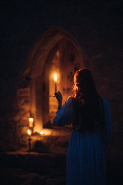 Rebecca Stice HISTORICAL WOMAN HOLDING CANDLE IN CASTLE