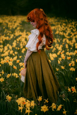 Rebecca Stice SMILING GIRL WITH RED HAIR IN DAFFODIL FIELD