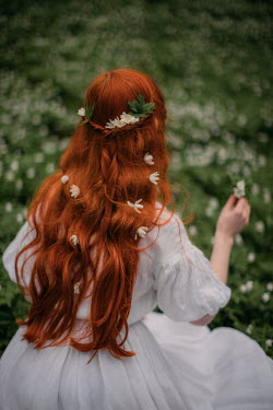 Rebecca Stice GIRL WITH RED HAIR IN MEADOW OF WHITE FLOWERS