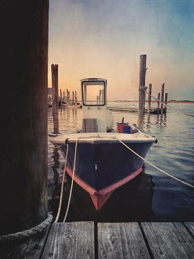 Lisa Bonowicz SMALL BOAT MOORED BY WOODEN JETTY