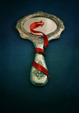 Lyn Randle SMALL SILVER MIRROR WITH RED RIBBON
