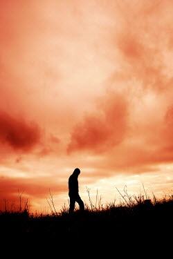 Tim Robinson SILHOUETTED MAN WALKING IN FIELD AT SUNSET