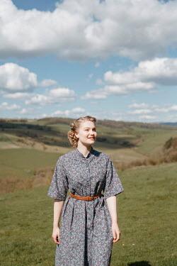 Shelley Richmond HAPPY BLONDE RETRO WOMAN IN COUNTRYSIDE