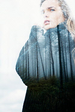 Shelley Richmond MISTY FOREST SUPERIMPOSED ON BLONDE WOMAN