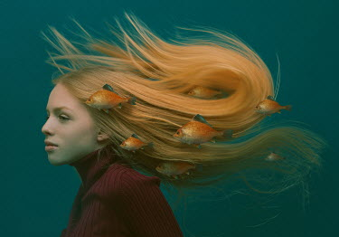 Tijana Moraca GIRL WITH LONG RED HAIR AND FISH UNDERWATER