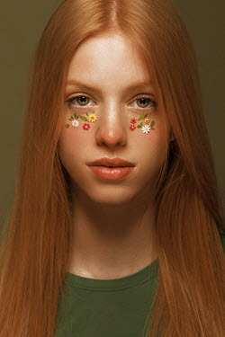 Tijana Moraca GIRL WITH RED HAIR AND FLOWERS ON FACE