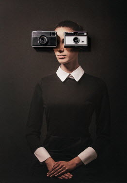 Tijana Moraca BRUNETTE WOMAN WITH RETRO CAMERAS