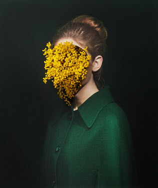 Tijana Moraca WOMAN WITH YELLOW FLOWERS ON FACE