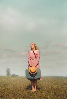 Joanna Czogala BLONDE RETRO GIRL WITH SUITCASE IN COUNTRYSIDE