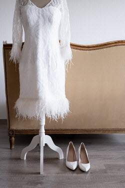 Maria Petkova WHITE DRESS ON MANNEQUIN WITH SHOES BY SOFA