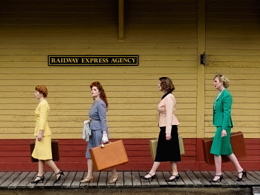Elisabeth Ansley RETRO WOMEN WITH SUITCASES ON RAILWAY PLATFORM