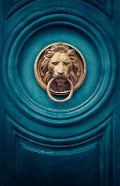 Elena Schweitzer TURQUOISE DOOR WITH GOLDEN LION HANDLE