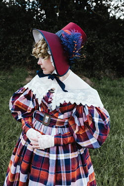 Matilda Delves BLONDE HISTORICAL WOMAN WITH BONNET OUTDOORS