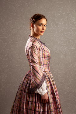 Miguel Sobreira 19th Century Woman in Plaid Gown