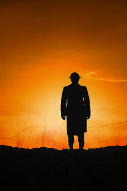 Magdalena Russocka silhouette of wartime soldier watching battlefield
