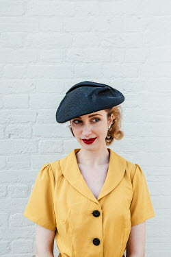 Matilda Delves 1940S WOMAN WITH HAT AND YELLOW DRESS