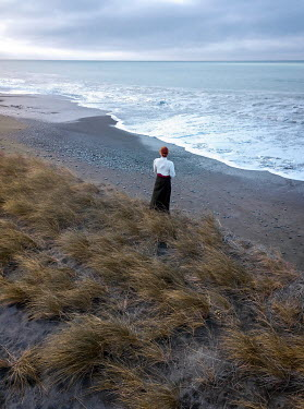 Mary Wethey HISTORICAL WOMAN ON SAND DUNE WATCHING SEA