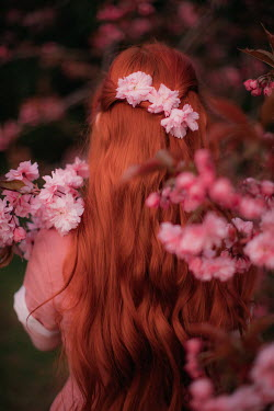 Rebecca Stice WOMAN WITH RED HAIR BY TREES IN BLOSSOM
