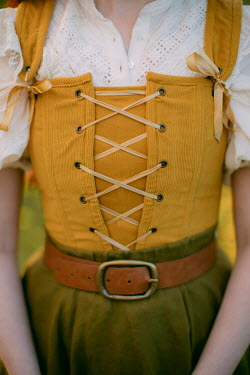 Rebecca Stice WOMAN IN YELLOW BODICE WITH BELT AND SKIRT