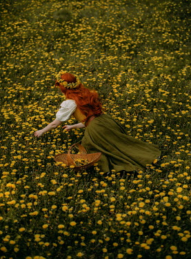 Rebecca Stice WOMAN WITH RED HAIR PICKING YELLOW FLOWERS