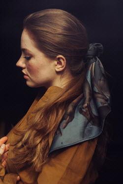 Marta Syrko WOMAN WITH LONG AUBURN HAIR AND BLUE SCARF