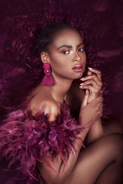Nadja Berberovic BLACK WOMAN WITH FEATHER BOA AND EARRINGS
