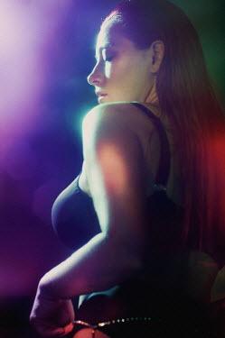 Tatiana Mertsalova WOMAN WITH LONG HAIR AT NIGHT WITH LIGHTS