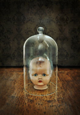 Lyn Randle RETRO DOLL UNDER GLASS DOME