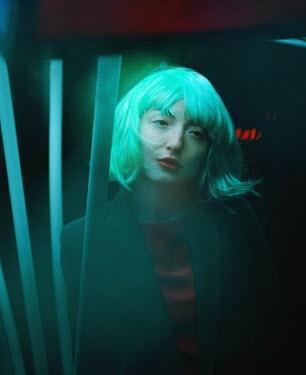Svitozar Bilorusov BLONDE WOMAN AT NIGHT WITH GREEN LIGHT