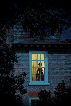 Miguel Sobreira HISTORICAL WOMAN INDOORS BY WINDOW AT NIGHT