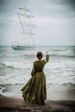 Natasza Fiedotjew historic woman waving to sailing ship in storm