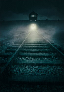 Jaroslaw Blaminsky CONCENTRATION CAMP WITH RAILWAY AT NIGHT