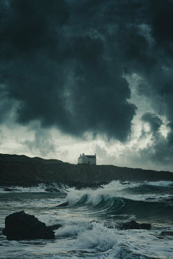 Nic Skerten HOUSE ON CLIFFS BY STORMY SEA