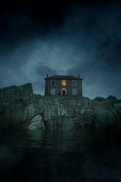 Nic Skerten LIGHTS IN HOUSE ON CLIFFS BY SEA