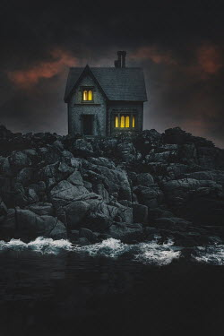 Nic Skerten LIGHTS IN HOUSE ON CLIFF BY SEA
