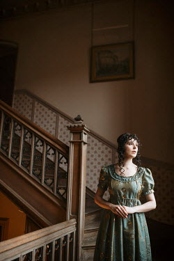 Shelley Richmond SERIOUS REGENCY WOMAN WATCHING ON STAIRCASE