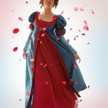 ILINA SIMEONOVA REGENCY WOMAN WITH FLOATING ROSE PETALS
