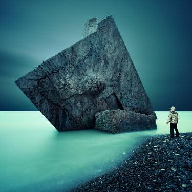 David Keochkerian MAN WATCHING WRECK OF BUNKER IN SEA