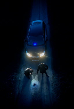 CollaborationJS TWO DETECTIVES  ON ROAD AT NIGHT WITH CAR