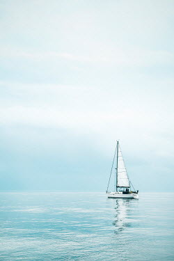 Evelina Kremsdorf WHITE YACHT ON CALM SEA