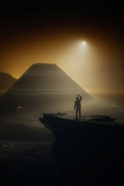 Andrei Cosma MAN ON CLIFF WATCHING PYRAMID AT NIGHT