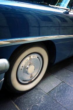 Tim Robinson CLOSE UP OF BLUE RETRO CAR