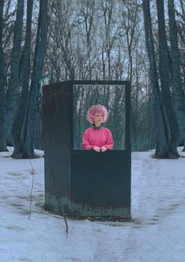 Svitozar Bilorusov WOMAN WITH PINK HAIR BY DOOR IN SNOWY FOREST
