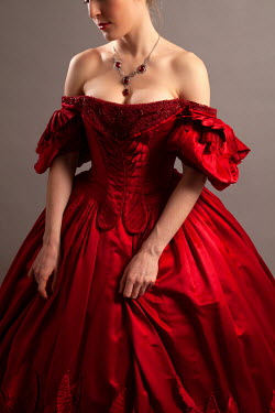 Miguel Sobreira WOMAN IN RED SILK GOWN AND NECKLACE